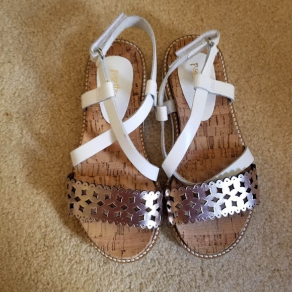 Pazitos White//Pink Leather Sandals with Flower